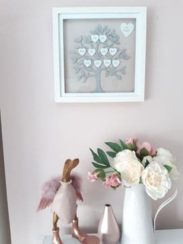 Medium 20cm Framed Blush Pink And Silver Family Tree